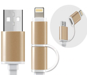 2 In 1 Lightning  Micro USB Data Cable for samsung and iPhone